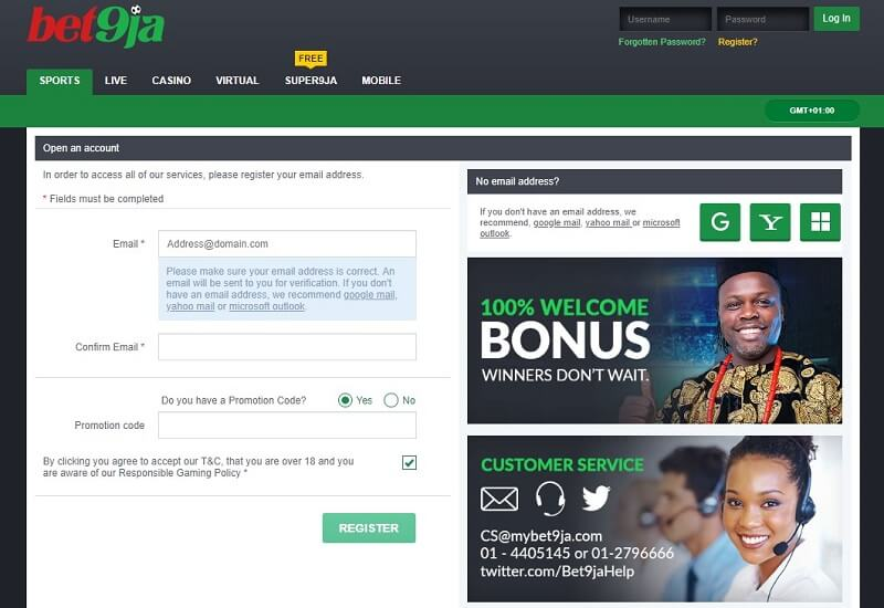 bet9ja Signup Form