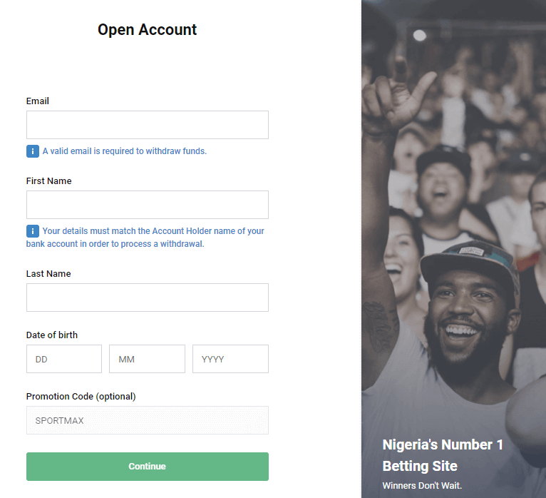 bet9ja sign up page