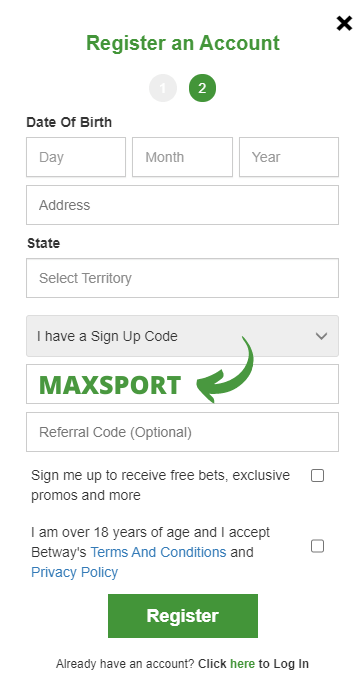 use betway sign up code